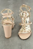 Camila Nude Patent Studded Ankle Strap Heels 3