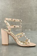 Camila Nude Patent Studded Ankle Strap Heels 2