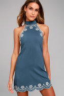 Roam On Denim Blue Embroidered Halter Dress 2