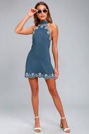 Roam On Denim Blue Embroidered Halter Dress 1