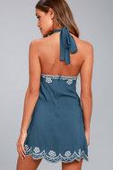Roam On Denim Blue Embroidered Halter Dress 3