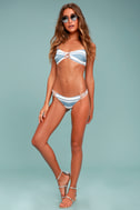 Chaser Strappy Bandeau Blue and White Striped Bikini Top 1