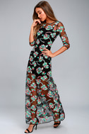 Bountiful Blossoms Black Embroidered Maxi Dress 2