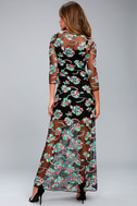Bountiful Blossoms Black Embroidered Maxi Dress 3