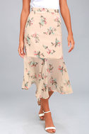 Bouquet Days Blush Floral Print Midi Skirt 2
