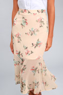 Bouquet Days Blush Floral Print Midi Skirt 4
