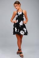 Happy Together Black Floral Print Lace-Up Dress 1