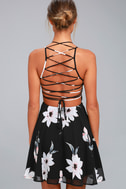 Happy Together Black Floral Print Lace-Up Dress 3