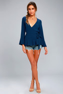 Great Expectations Navy Blue Wrap Top 1