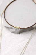 Night We Met Brown and Gold Layered Choker Necklace 3