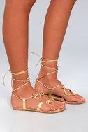 Steve Madden Jupiter Gold Lace-Up Sandals 3
