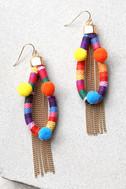 Ettika Festival Frenzy Gold and Rainbow Earrings 1