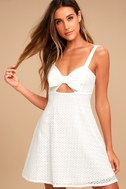 Songbook White Crochet Lace Skater Dress 2