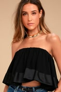 Turn up the Music Black Strapless Crop Top 2