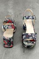 CL By Laundry Kensie Navy Blue Brocade Platform Heels 3
