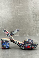 CL By Laundry Kensie Navy Blue Brocade Platform Heels 2