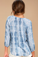 Cheerful Skies Blue and White Tie-Dye Top 3
