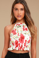 Begonia Street White and Red Floral Print Crop Top 2