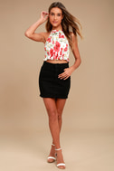 Begonia Street White and Red Floral Print Crop Top 1