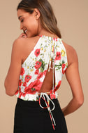 Begonia Street White and Red Floral Print Crop Top 3