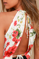 Begonia Street White and Red Floral Print Crop Top 4