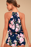In the Garden Navy Blue Floral Print Romper 3