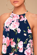 In the Garden Navy Blue Floral Print Romper 4