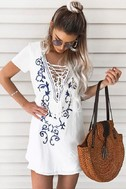 Down in Kokomo Ivory Embroidered Shift Dress 8