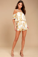 MINKPINK Paradise White and Yellow Print Off-the-Shoulder Romper 1