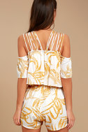 MINKPINK Paradise White and Yellow Print Off-the-Shoulder Romper 3