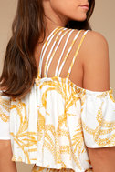 MINKPINK Paradise White and Yellow Print Off-the-Shoulder Romper 4