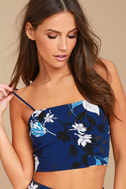 By Golly Navy Blue Floral Print Lace-Up Crop Top 1