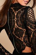 Bring Me Back Black Lace Long Sleeve Crop Top 4