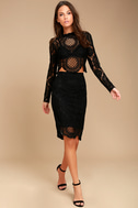 Keep it Moving Black Lace Pencil Skirt 1