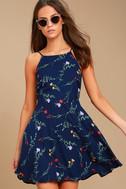 Flower of the Flock Navy Blue Floral Print Skater Dress 3