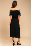 Ready, Set, Vacation Black Embroidered Off-the-Shoulder Jumpsuit 3