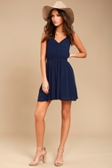Here's to the Good Times Navy Blue Skater Dress 2