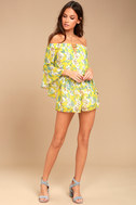 Stay Sweet Yellow Floral Print Off-the-Shoulder Romper 1