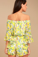 Stay Sweet Yellow Floral Print Off-the-Shoulder Romper 3