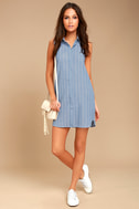 Poolside Blue and White Striped Shirt Dress 2