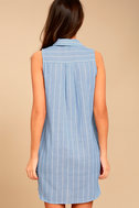 Poolside Blue and White Striped Shirt Dress 3