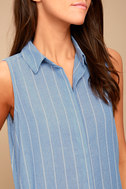 Poolside Blue and White Striped Shirt Dress 4