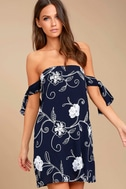 Dream Romance Navy Blue Embroidered Off-the-Shoulder Dress 1