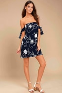 Dream Romance Navy Blue Embroidered Off-the-Shoulder Dress 2