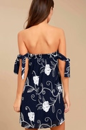 Dream Romance Navy Blue Embroidered Off-the-Shoulder Dress 3
