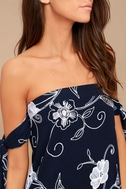 Dream Romance Navy Blue Embroidered Off-the-Shoulder Dress 4