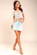 Billabong Sun Catcher Cream Crochet Lace Crop Top 1
