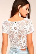 Billabong Sun Catcher Cream Crochet Lace Crop Top 3