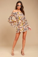 Blushing Blooms Blush Floral Print Off-the-Shoulder Dress 1
