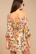 Blushing Blooms Blush Floral Print Off-the-Shoulder Dress 3